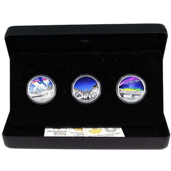 "2019 Canada $20 Sky Wonders Fine Silver 3-coin Set  - Fire Rainbow, Light Pillars & ""Steve"" (Capsule"