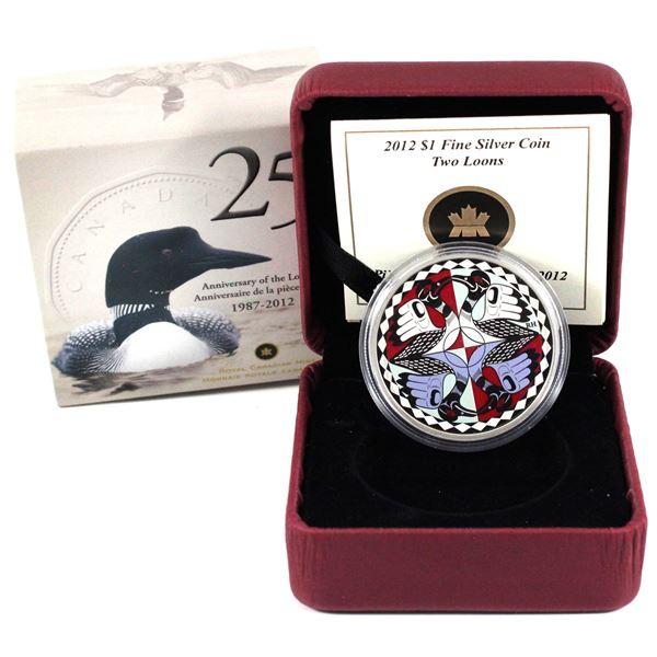 2012 Canada $1 Artistic Two Loons Fine Silver Coin. (TAX Exempt)