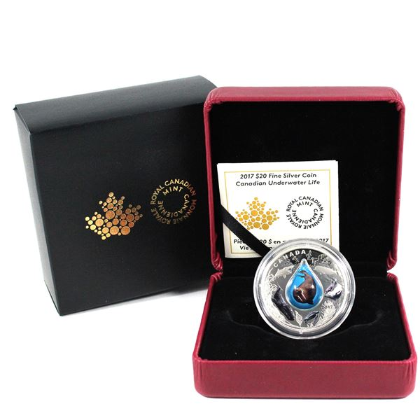 2017 $20 Canadian Underwater Life Glass Fine Silver Coin.