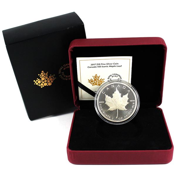 2017 $10 Canada 150 Iconic Maple Leaf 2oz Fine Silver Coin. TAX Exempt