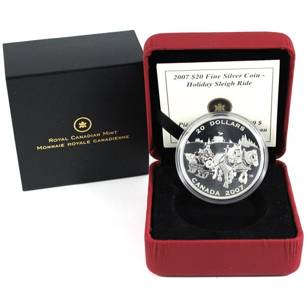 2007 Canada $20 Holiday Sleigh Ride Fine Silver Coin. TAX Exempt