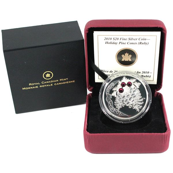 2010 Canada $20 Ruby Crystal Pinecone Fine Silver Coin.