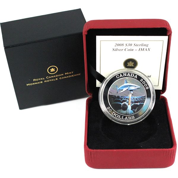 2008 $30 Canadian Achievements - IMAX Sterling Silver Coin (Capsule has a light scuff & coin lightly