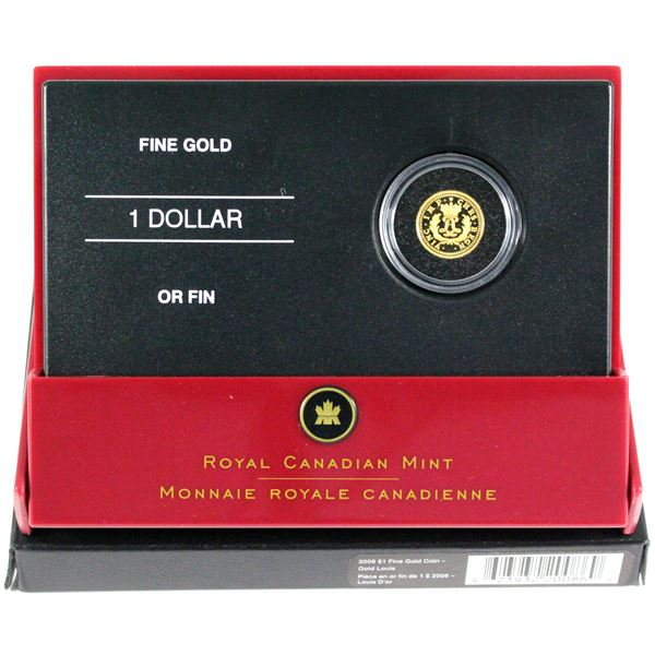 2006 Canada $1 Gold Louis 1/20oz Fine Gold Coin. (TAX Exempt)