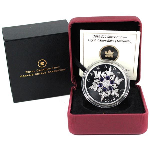 2010 Canada $20 Tanzanite Crystal Snowflake Fine Silver Coin.