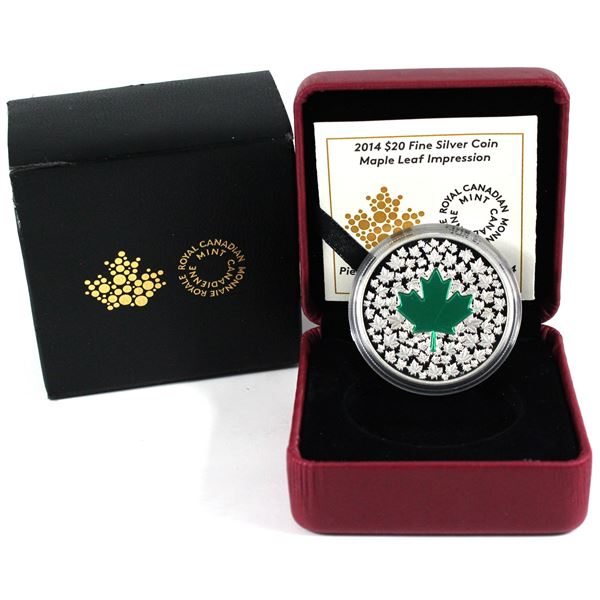 2014 Canada $20 Maple Leaf Impression Fine Silver Coin with Green Enameling (Sleeve has some wear &