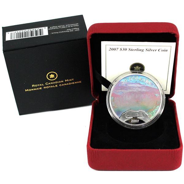 2007 Canada $30 Panoramic Camera - Niagara Falls Sterling Silver Hologram Coin.