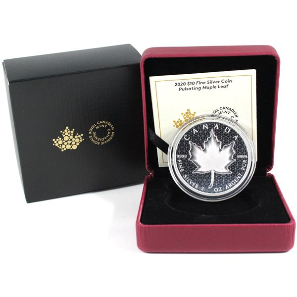 2020 Canada $10 Pulsating Maple Leaf Fine Silver Coin. TAX Exempt