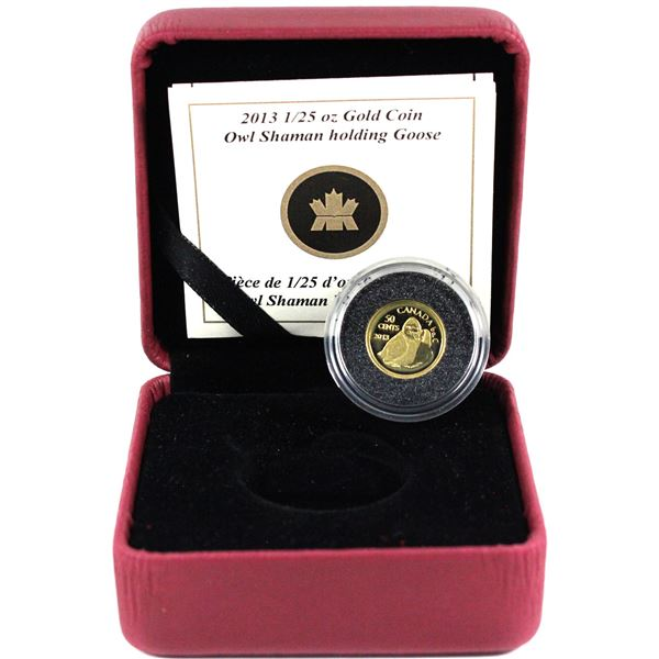2013 Canada 50-cent Inuit Art - Owl Shaman Holding Goose 1/25oz Fine Gold Coin Encapsulated in Red R