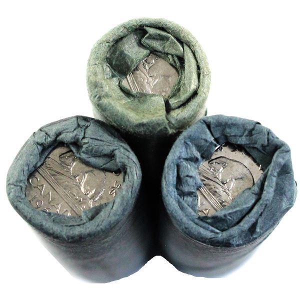 1962, 1963 & 1964 Canada 5-cent Original Rolls of 40pcs. 3 rolls