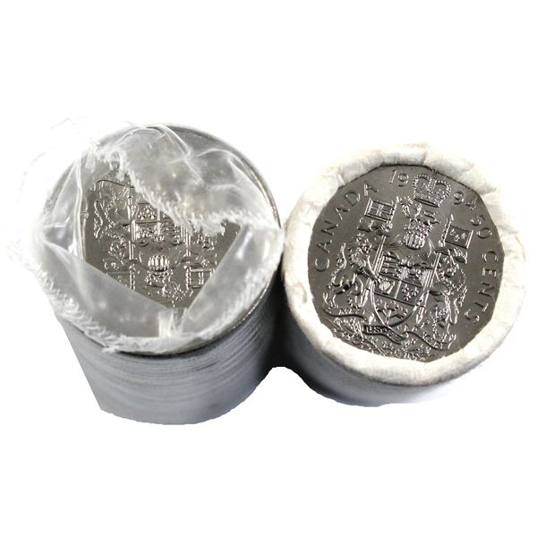 1994 & 1995 Canada 50-cent Original Rolls of 25pcs. 2 rolls