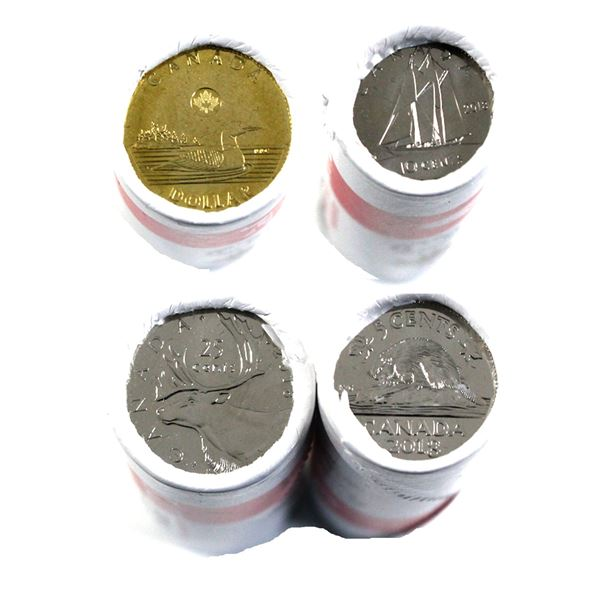 2018 Canada 5-cent, 10-cent, 25-cent & Loon $1 Special Wrap First Strike Original Rolls. 4pcs