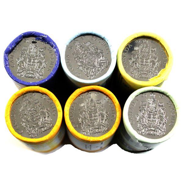 2011-2016 Canada 50-cent Original Rolls of 25pcs. 6 rolls