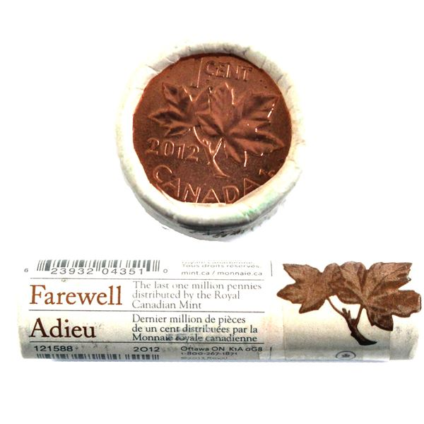 2012 Canada 1-cent Farewell to the Penny Replacement Special Wrap Roll of 50pcs - #02560R/20,000 (Ta