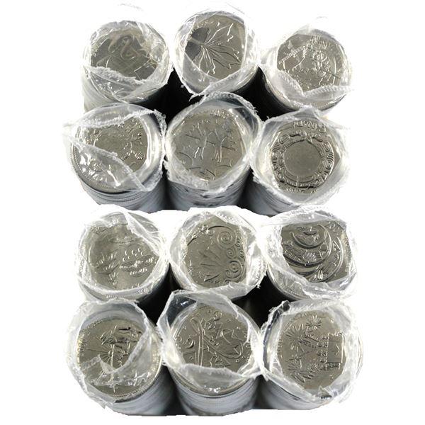 2000 Canada 25-cent Millennium Commemorative 25-cent Original Rolls of 40pcs - January to December.