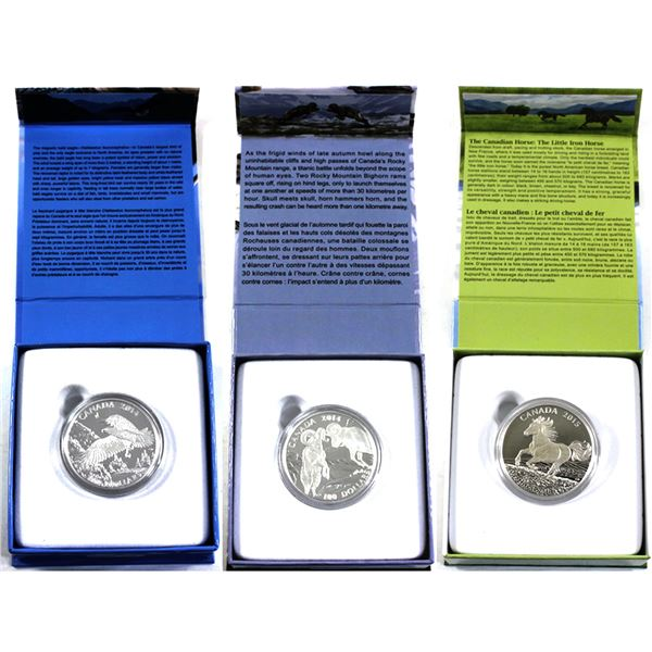 2014-2015 Canada $100 for $100 Fine Silver Coins - 2014 The Majestic Bald Eagle, 2014 The Rocky Moun