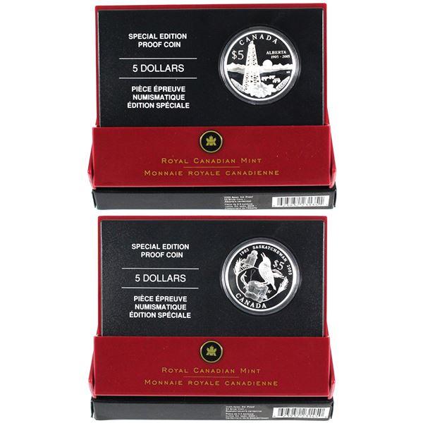 2005 Canada $5 Alberta's & Saskatchewan's Centennial Special Edition Fine Silver Coins. 2pcs (TAX Ex