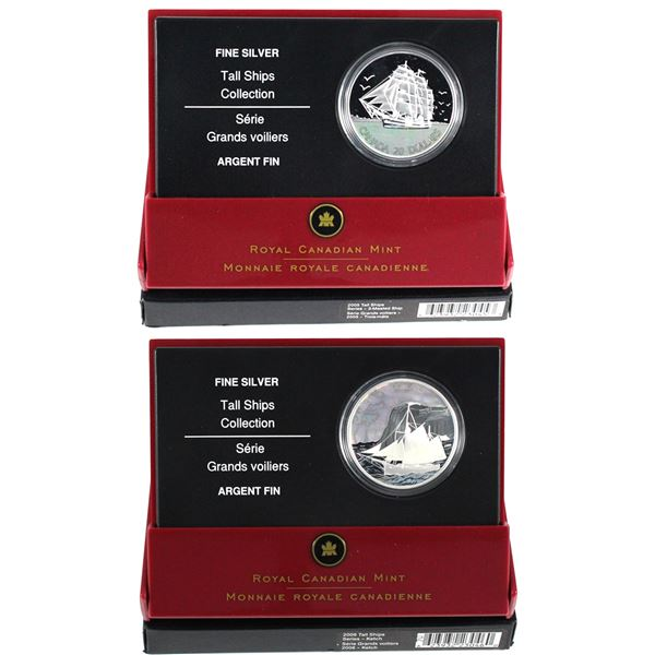 2005-2006 Canada $20 Tall Ships Fine Silver Hologram Coins - 2005 3-Masted Ship & 2006 Ketch. 2pcs (