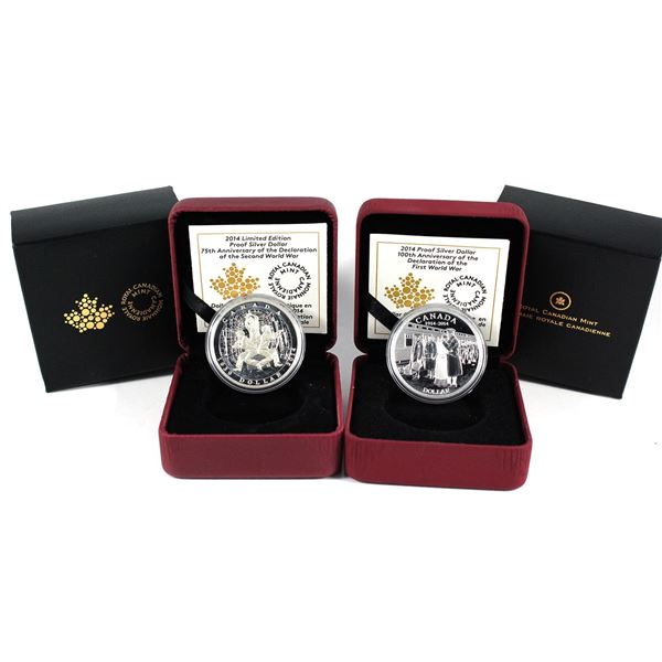 2014 Canada 100th Anniversary Of WWI & 2014 75th Anniversary of the Declaration of WWII Fine Silver