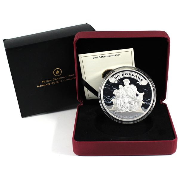 2010 Canada $50 75th Anniversary of the First Bank Notes 5oz Fine Silver Coin. TAX Exempt