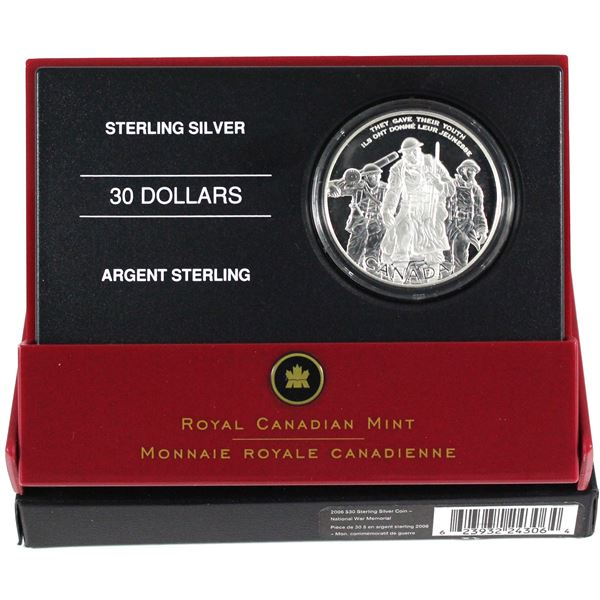 2006 Canada $30 National War Memorial Sterling Silver Coin.