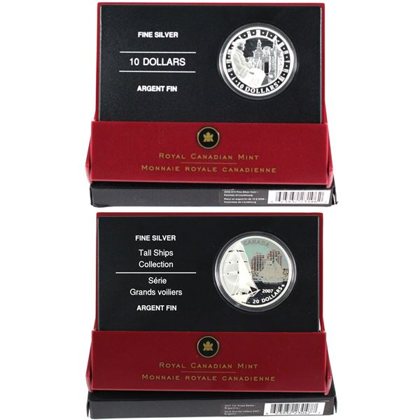 2006 Canada $10 National Historic Sites - Fortress of Louisburg & 2007 $20 Tall Ships - Brigantine F