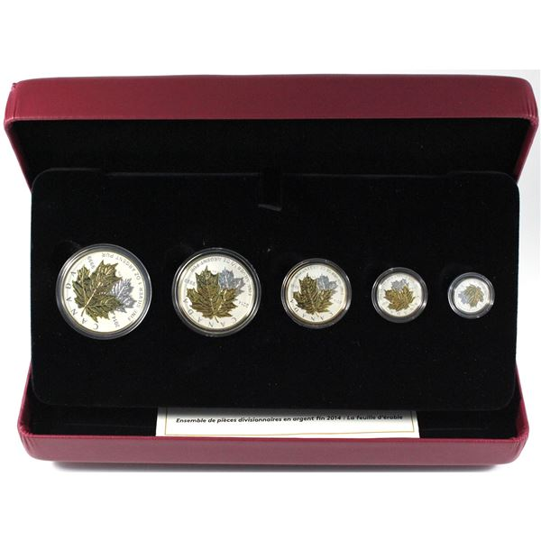 2014 Canada The Maple Leaf Fine Silver 5-coin Fractional Set. TAX Exempt