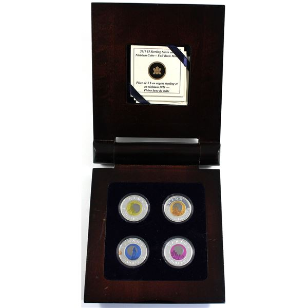 2011-2012 Canada $5 Full Moons of the Algonquin Sterling Silver & Niobium 4-coin Set (Inside the woo