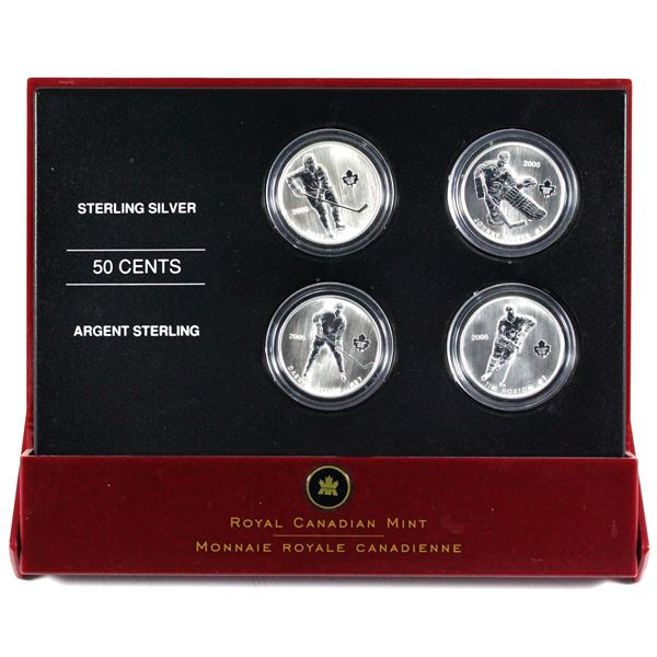 2005 Canada 50-cent Toronto Maple Leafs Hockey Legends 4-Coin Set in Red Display Case with COA.