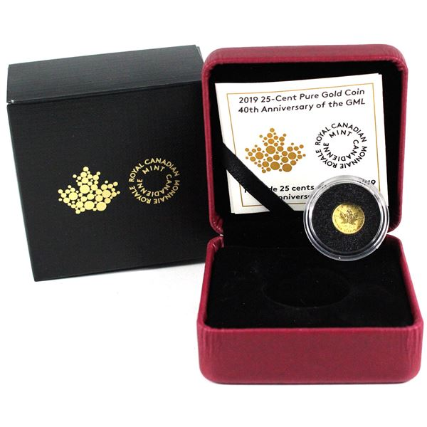 2019 Canada 25-cent 40th Anniversary of the GML Fine Gold Coin. (TAX Exempt)