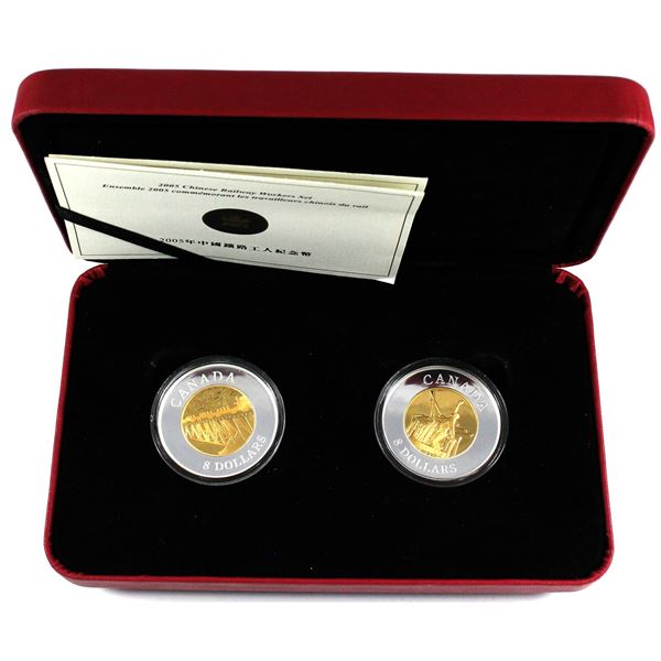 2005 Canada $8 Chinese Railway Workers Fine Silver 2-Coin Set in Red RCM Display Box with COA. (TAX