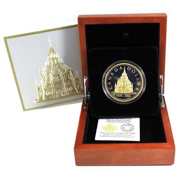 2016 Canada $1 Library of Parliament Renewed Silver Dollar Fine Silver Coin with Gold Plating. TAX E