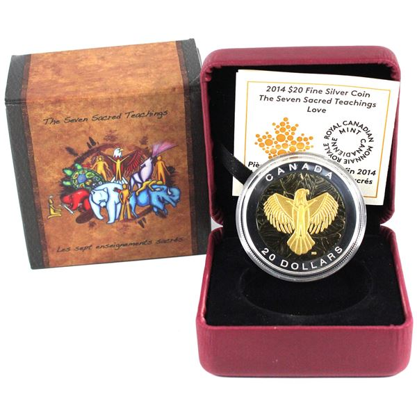 2014 Canada $20 The Seven Sacred Teachings - Love Fine Silver Coin. TAX Exempt