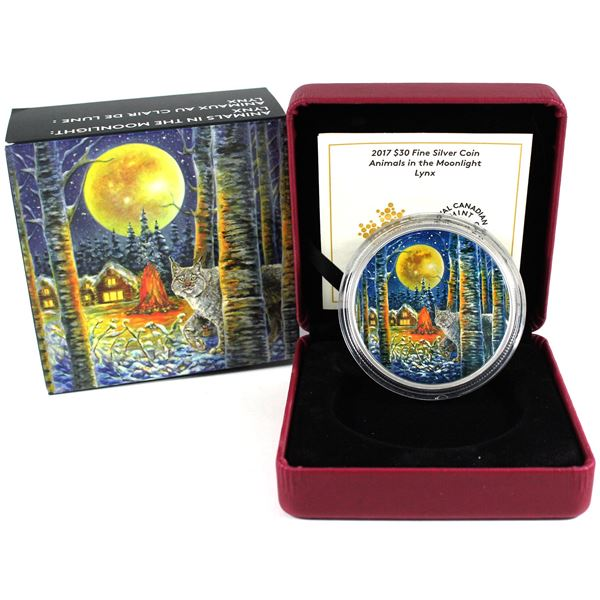 2017 Canada $30 Animals in the Moonlight - Lynx Fine Silver Coin. (TAX Exempt)