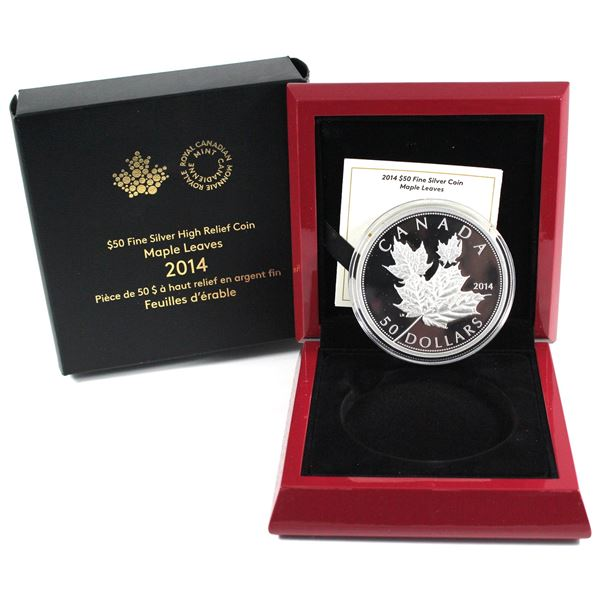 2014 Canada $50 Maple Leaves 5oz Fine Silver Coin (Surface tear on sleeve). TAX Exempt