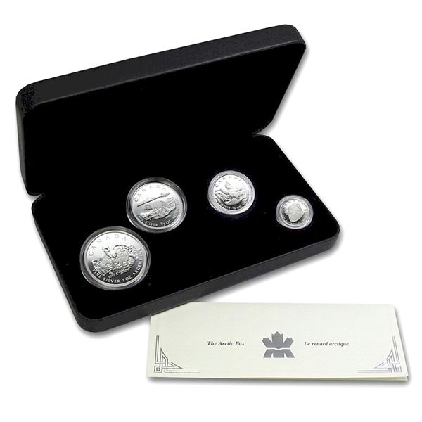 2004 Canada Arctic Fox Fractional 4-coin Fine Silver Set. TAX Exempt