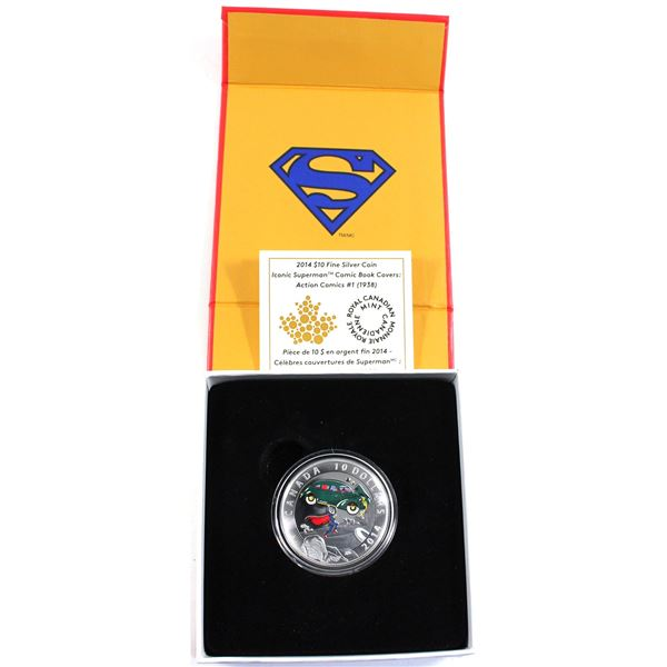 2014 Canada $10 Iconic Superman - Action Comics #1 (1938) Fine Silver Coin. (TAX Exempt)