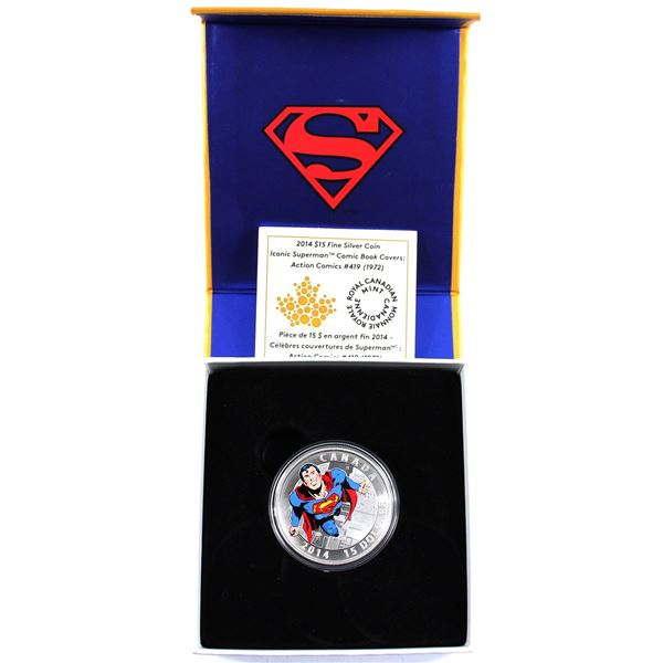 2014 Canada $15 Iconic Superman - Action Comics #419 (1972) Fine Silver Coin. (TAX Exempt)