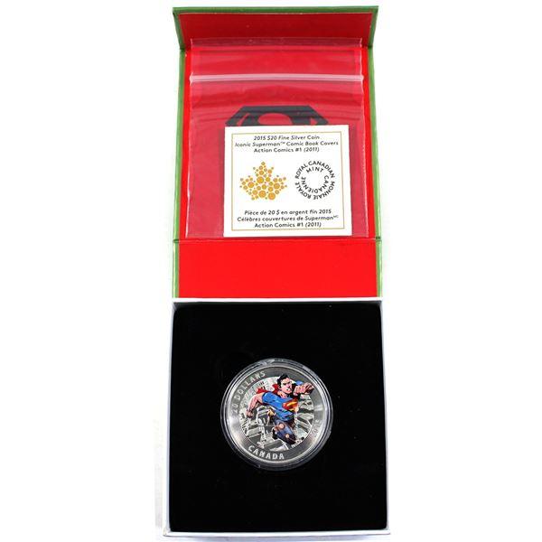2015 Canada $20 Iconic Superman - Action Comics #1 (2011) Fine Silver Coin (Capsule broken & box lig