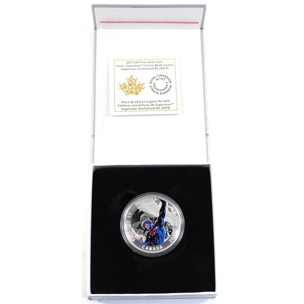 2015 Canada $20 Iconic Superman - Superman Unchained #2 (2013) Fine Silver Coin. (TAX Exempt)