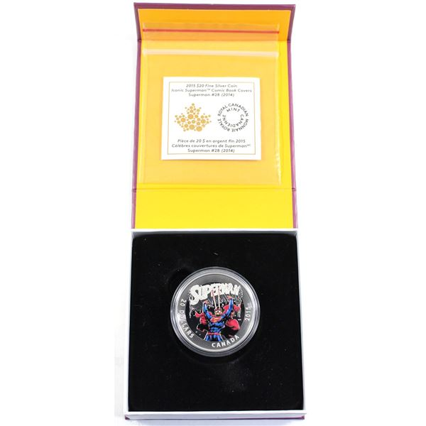 2015 Canada $20 Iconic Superman - Superman #28 (2014) Fine Silver Coin. (TAX Exempt)