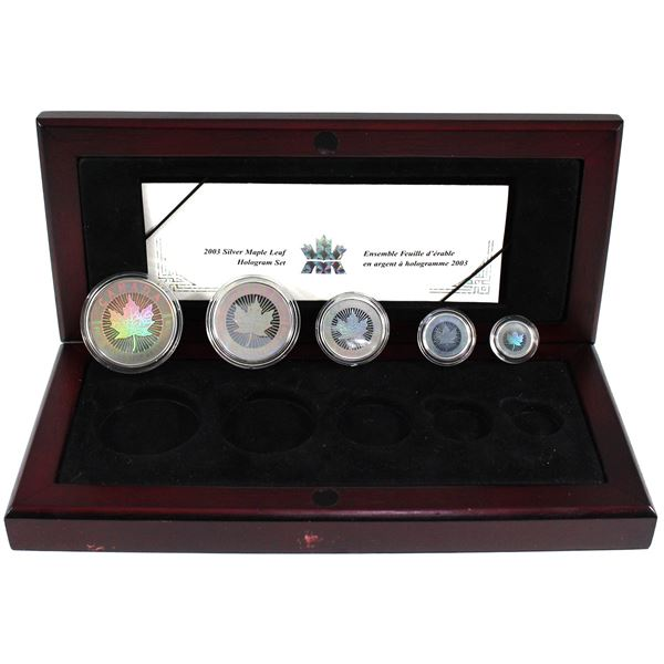 2003 Canada Hologram 5-coin Fractional Fine Silver Maple Leaf Set (Sleeve is worn & display box is l