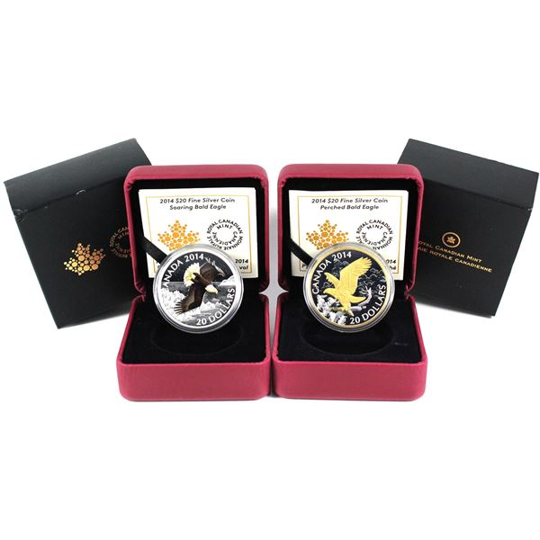 2014 Canada $20 Soaring Bald Eagle & 2014 $20 Gilded Perched Bald Eagle Fine Silver Coins (Sleeves c