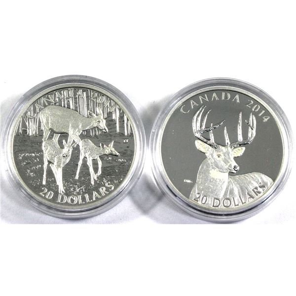 2014 Canada $20 White-Tailed Deer - Portrait & A Doe and Her Fawns Fine Silver Coins Encapsulated wi