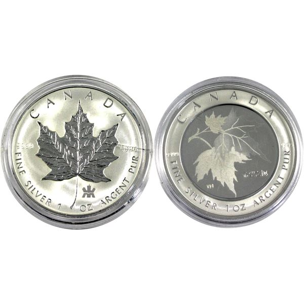 2004 Canada RCM Privy & 2005 Maple of Hope 1oz Fine Silver Maple Leafs Encapsulated (2004 coin is to