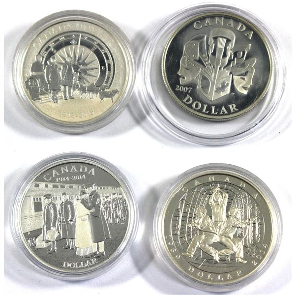 2007-2014 Canada Proof Silver Dollars in Capsules - 2007 Celebration of the Arts, 2013 Arctic Expedi