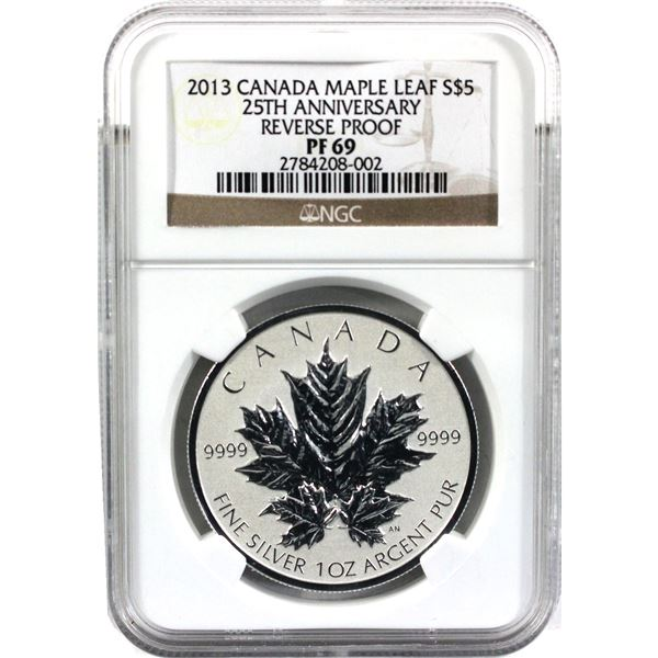 2013 Canada $5 25th Anniversary of the Silver Maple Leaf Reverse Proof 1oz Fine Silver NGC Certified