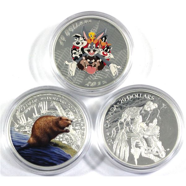 2014 Canada $20 Legend of Nanaboozhoo, 2015 $20 Looney Tunes - Merry Melodies & 2015 $20 Beaver At W