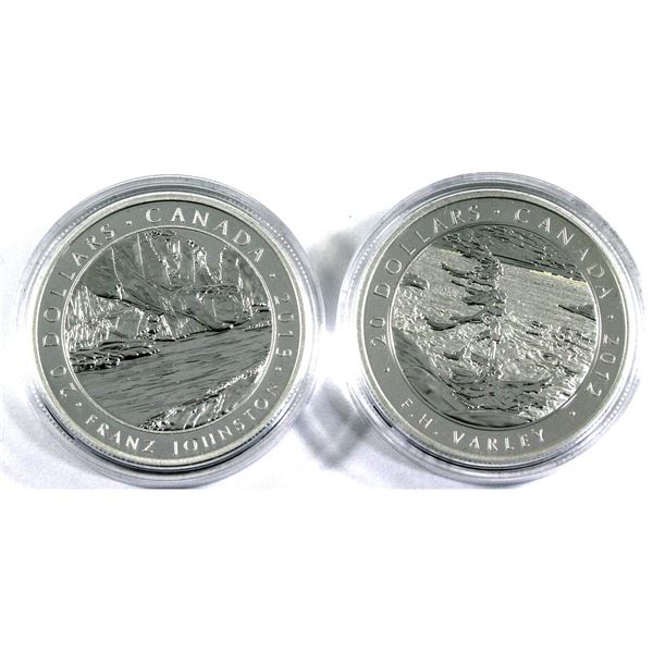 2012 Canada $20 Group of Seven - F.H. Varley & Franz Johnston Fine Silver Coins Encapsulated with CO