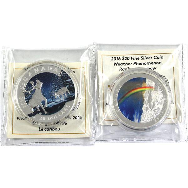 2016 Canada $20 Geometry In Art - The Caribou & 2016 $20 Weather Phenomenon - Radiant Rainbow Fine S